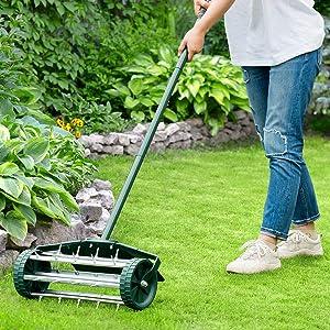 HAPPYGRILL Rolling Lawn Aerator 18-inch Garden Yard Rotary Push Tine Spike Soil Aeration