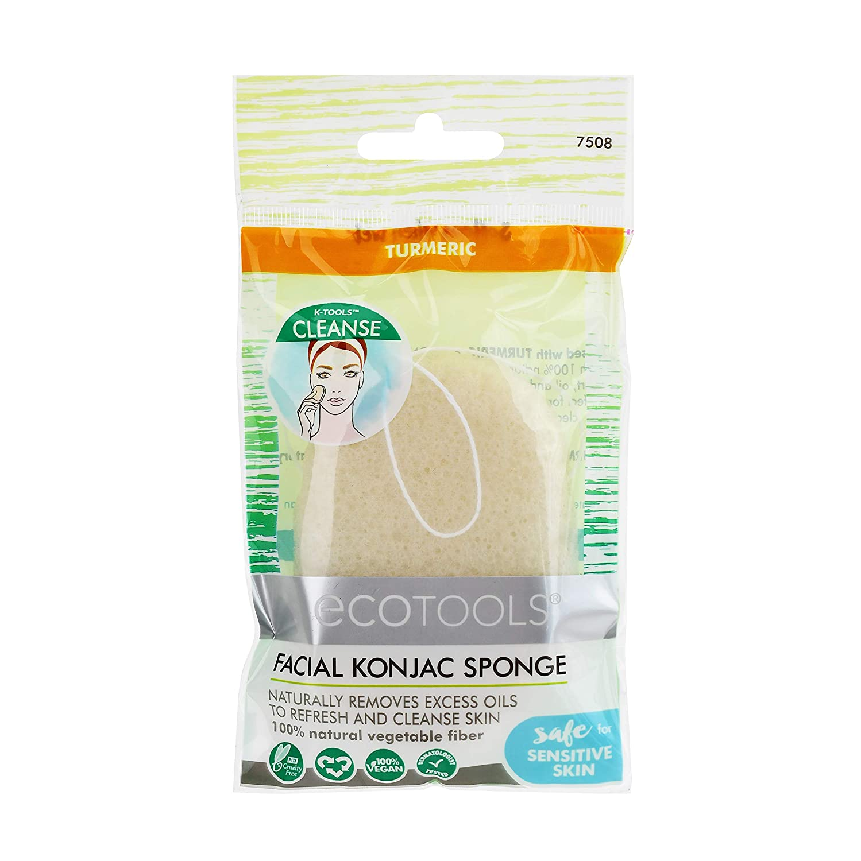 EcoTools Facial Konjac Turmeric Sponge, Removes Excess Oils, Scrubber For Facial Skincare and Beauty, Set of 6
