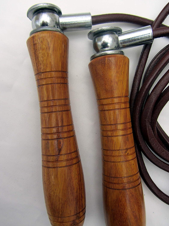 Shihan Power-Sports Plomb/é Traditionnel Classique en Bois Boxe Cuir Corde /à Sauter Ergonomique Nouveau R/églable avec Amovible Poids