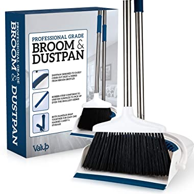 Valup Broom and Dustpan Set - Sturdy Long Handled Broom Dustpan Combo - Durable Kitchen, Lobby or Office Broom and Dust Pan Brush - Perfect Cleaning with Great Edge and Self Cleaning Bristles