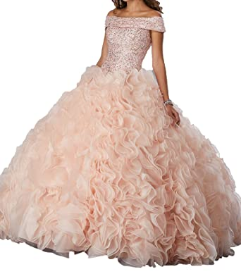 c17c188ab2 Dengfeng Women s Bateau Sequins Beaded Sweet 15 Dance Ball Quinceanera  Dresses at Amazon Women s Clothing store