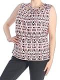 Nine West Womens Plus Printed Criss-Cross Tank Top Pink 1X