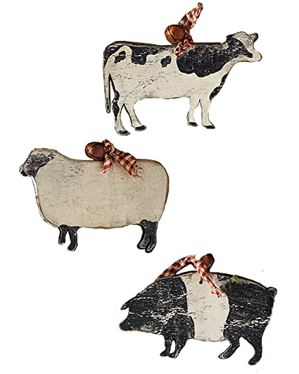 Large Wooden Farm Animal Shaped Ornaments With Rustic Bell Set Of 3