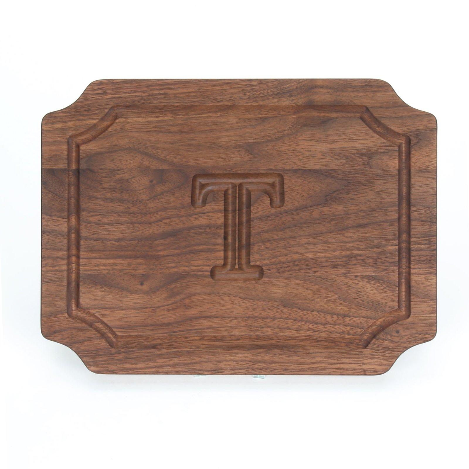 BigWood Boards W300-T Cutting Board, Monogrammed Wedding Gift Cutting Board, Small Cheese Board, Walnut Wood Serving Tray,''T''