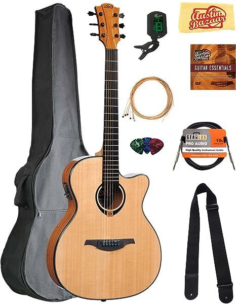 Lag t80ace Tramontana Auditorio Cutaway Guitarra Electroacústica guitarra, con funda, cable, sintonizador,