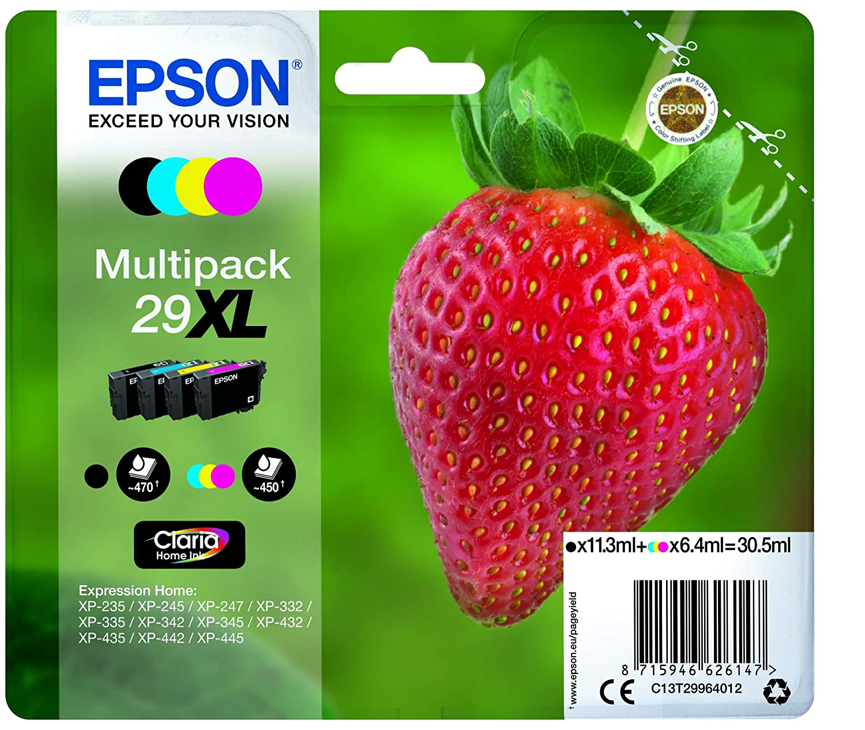 Epson 29XL Claria Home Strawberry Cartouches dencre dorigine Multi-pack Noir//Cyan//Magenta//Jaune