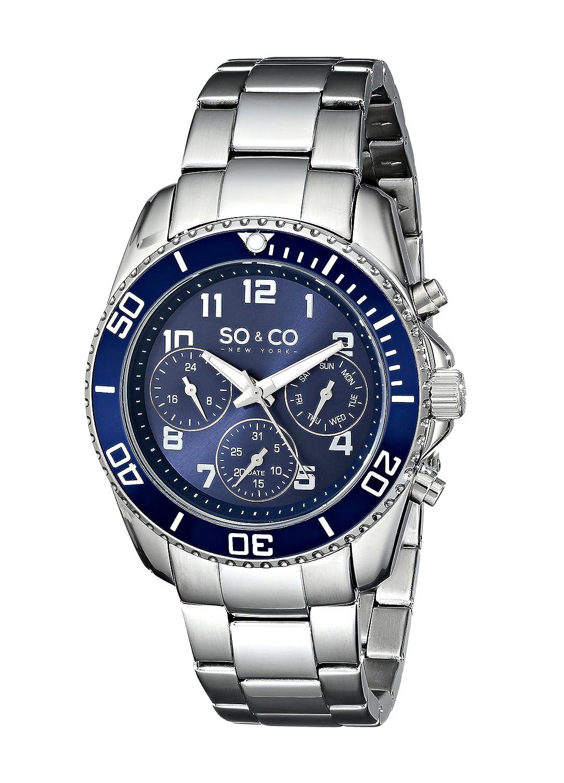 So &Co Men'Yacht Club New York Herren Quarzuhr mit blauem Zifferblatt Analog-Anzeige und Silber-Edelstahl-Armband