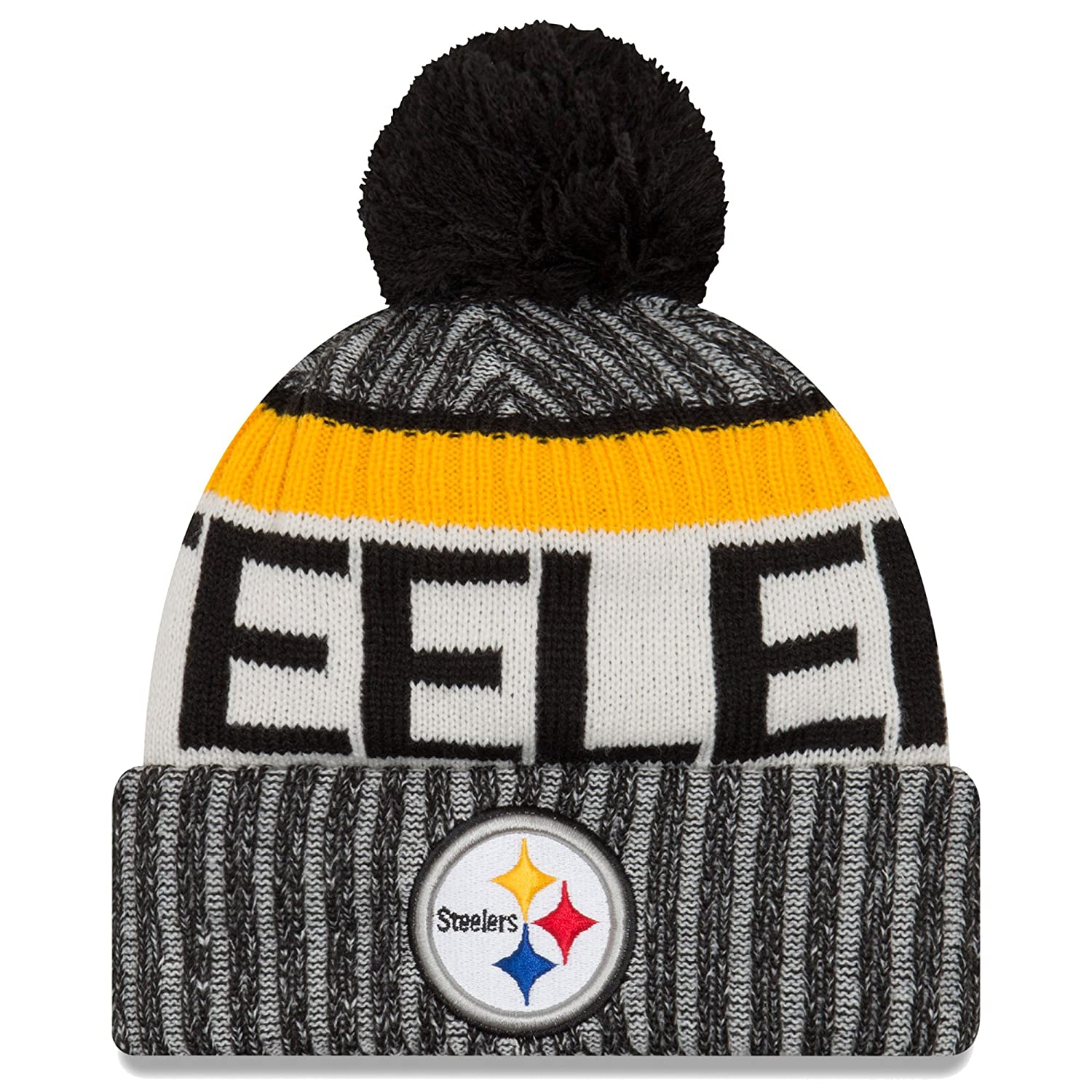 Amazon.com   New Era Knit Pittsburgh Steelers Black On Field Sideline Sport Knit  Winter Stocking Beanie Pom Hat Cap 2015   Sports   Outdoors bc2394ab93d4
