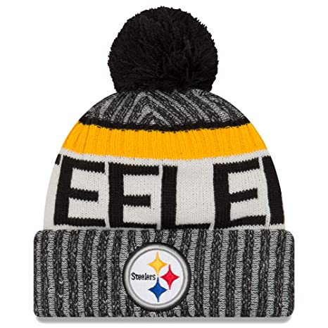 f82578ed2ed Amazon.com   New Era Knit Pittsburgh Steelers Black On Field Sideline Sport Knit  Winter Stocking Beanie Pom Hat Cap 2015   Sports   Outdoors