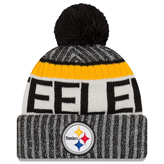 611fff7e Amazon.com : New Era Knit Pittsburgh Steelers Black On Field Sideline Sport  Knit Winter Stocking Beanie Pom Hat Cap 2015 : Clothing