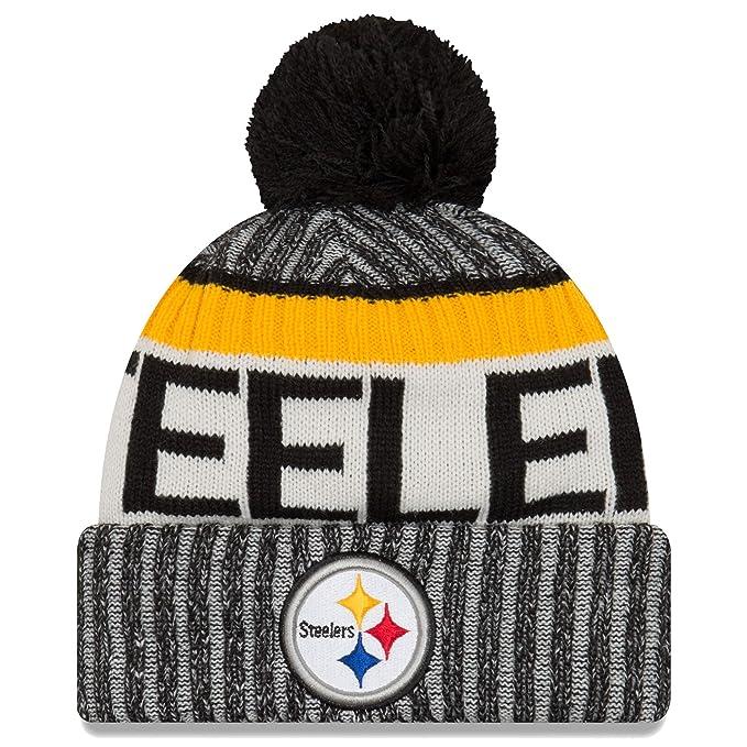 7bc5c340 New Era Knit Pittsburgh Steelers Black On Field Sideline Sport Knit Winter  Stocking Beanie Pom Hat Cap 2015