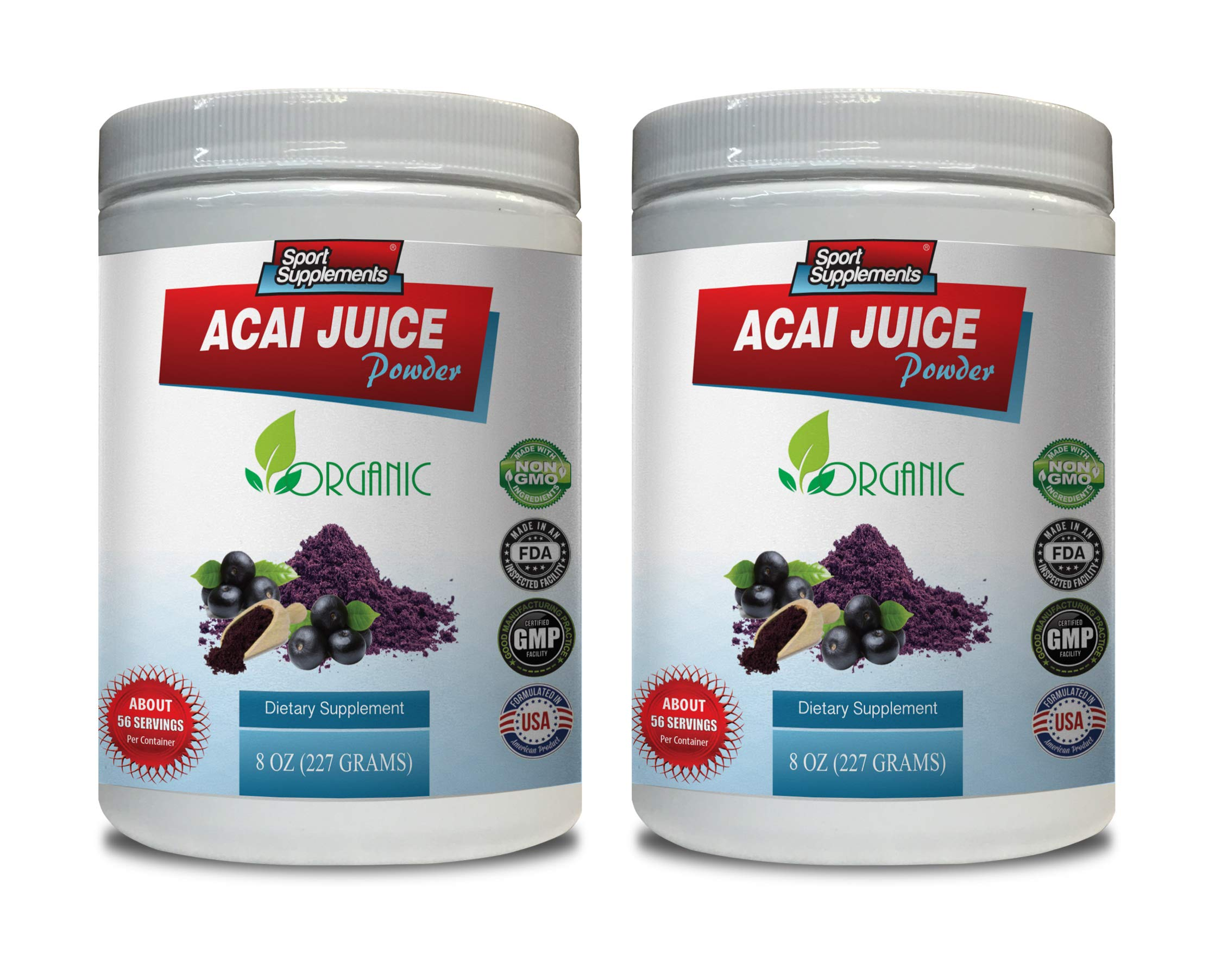 Energy Support Powder - ACAI Juice Powder - Organic Dietary Supplement - acai Energy Powder - 2 Cans 16 OZ (130 Servings)