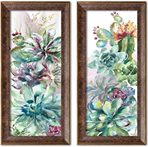 Roaring Brook Beautiful Watercolor-Style Succulent Floral Panels by TRE Sorelle Studios; Two 6x18in s