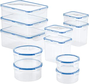 LOCK & LOCK Easy Essentials Food Storage lids/Airtight containers, BPA Free, 22 Piece, CLEAR