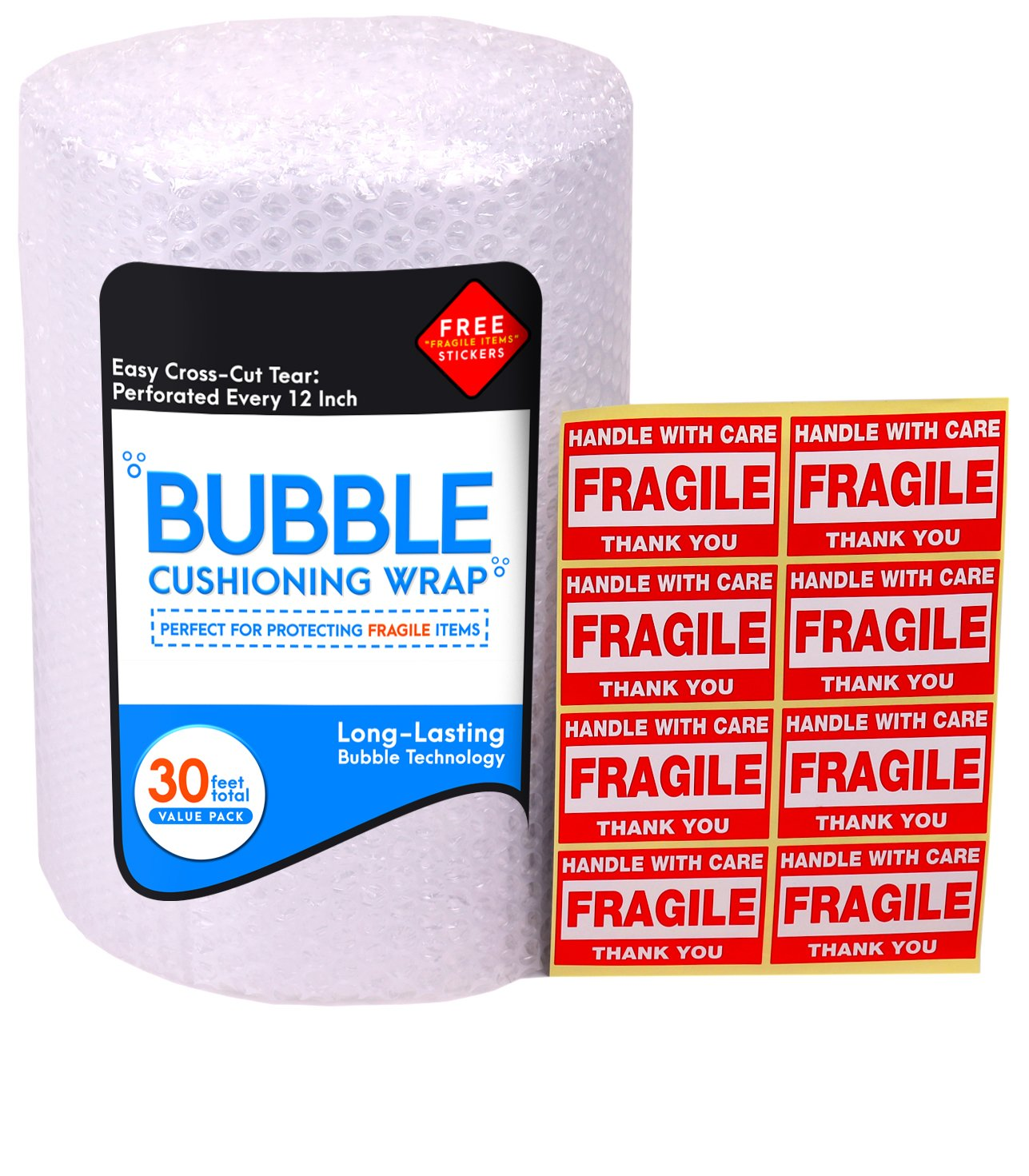 Bubble Cushioning Wrap Roll for Packing (3/16'', 12'' x 32 ft), Easy-to-Tear 12'' Sheets, Plus Free 8 'Fragiile, Handle with Care' Stickers
