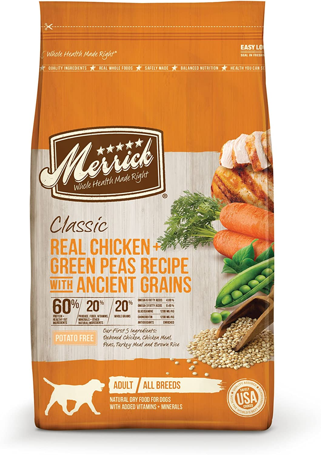 Merrick Dry Dog Food with Healthy Grains Added Vitamins Minerals for All Breeds