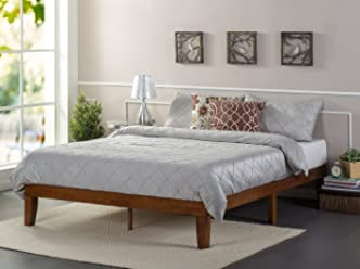 Zinus 12 Inch Wood Platform Bed/No Boxspring Needed/Wood Slat Support/Cherry Finish, Full