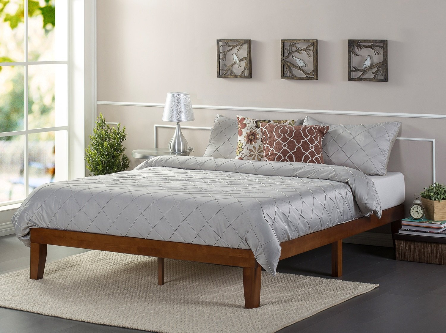 Zinus 12 Inch Deluxe Wood Platform Bed/No Boxspring Needed/Wood Slat Support/Cherry Finish, Twin AZ-SWPBB-12T