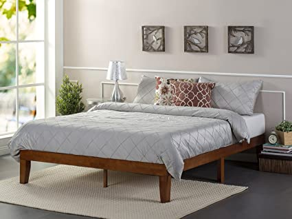 zinus 12 inch wood platform bed frames no boxspring needed wood slat support - No Box Spring Bed Frame