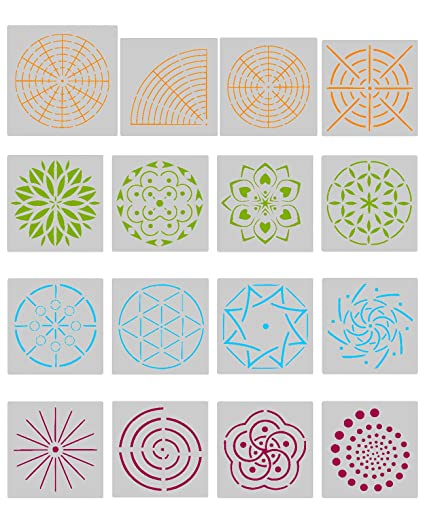 Biubee 16 Pcs Mandala Dotting Stencils  Different Patterns Mandala Dot  Painting Templates For Stone Wall
