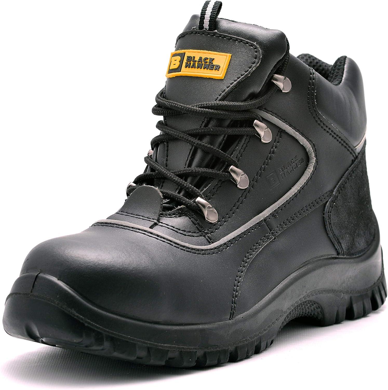 Black Hammer Chaussures De Sécurité Hommes Bottes De Sécurité en Cuir Travail Antidérapante Embout Acier Semelle Anti-Perforation S3 SRC 7752