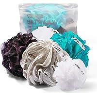 Fuxury Bath Shower Sponge Loofahs Color Swirls Set Mesh Pouf Shower Ball, 4 pcs 60g Mesh Bath + 1 pcs 20g Free White Foaming Net for face Washing