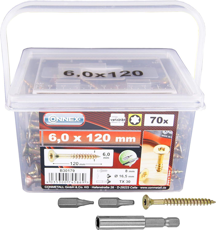 Connex B30179 Vis universelles 6,0 x 120 TX galvanis/és 70 g