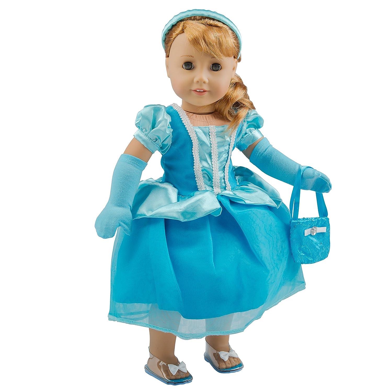Dress Along Dolly Cinderella Ispirato Vestiti Per Le Bambole Vestito Per 18  Bambole Di (Include Il Vestito, La Borsa, Fascia, Guanti E Scarpette Di Cristallo)