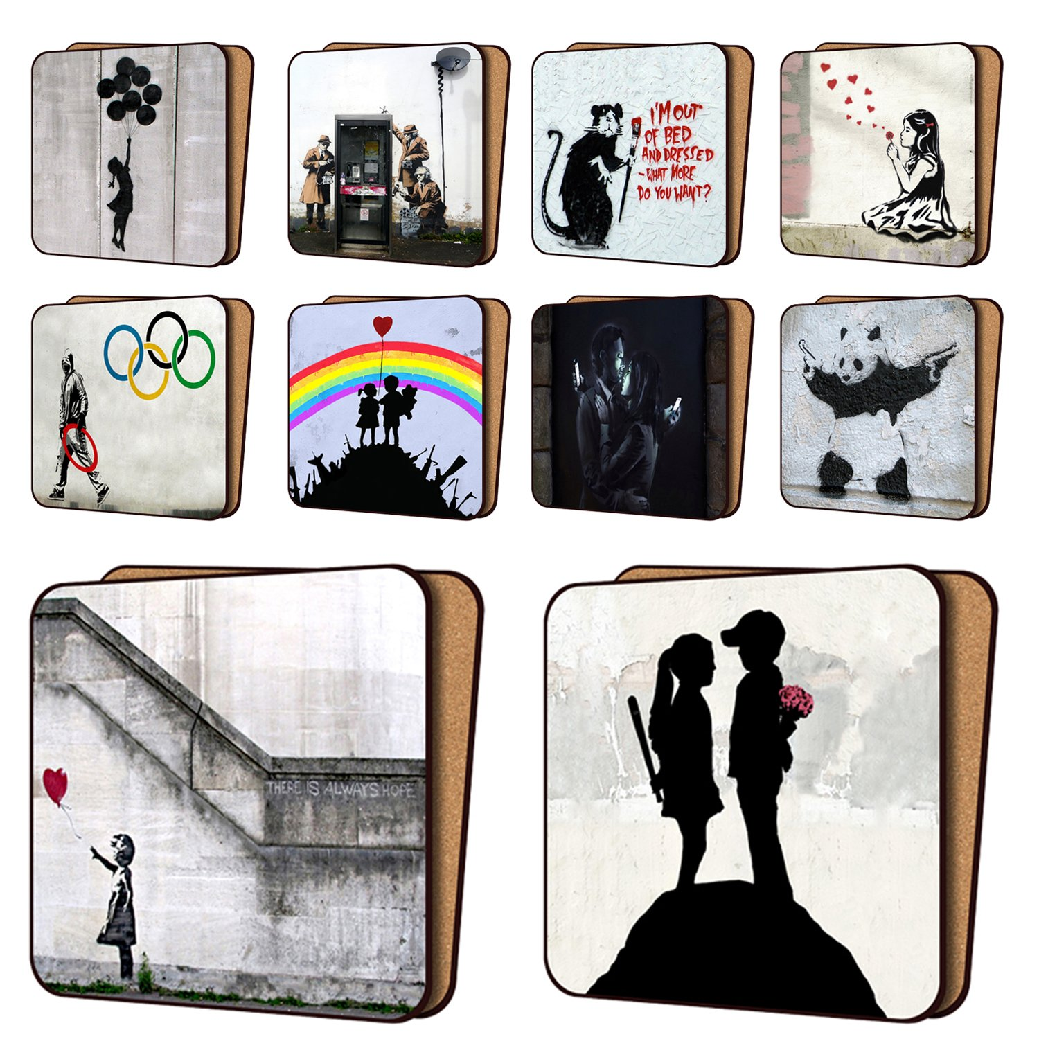 Banksy Coasters Mix1 - 10 New, Balloon Girl Hope, AYNIL All You Need Is Love & More - Dinnerware Coaster Sets 11cm x 11cm ScreenCentre 19870904