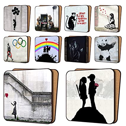 Banksy Coasters Mix1 - 10 New, Balloon Girl Hope, AYNIL All You Need Is