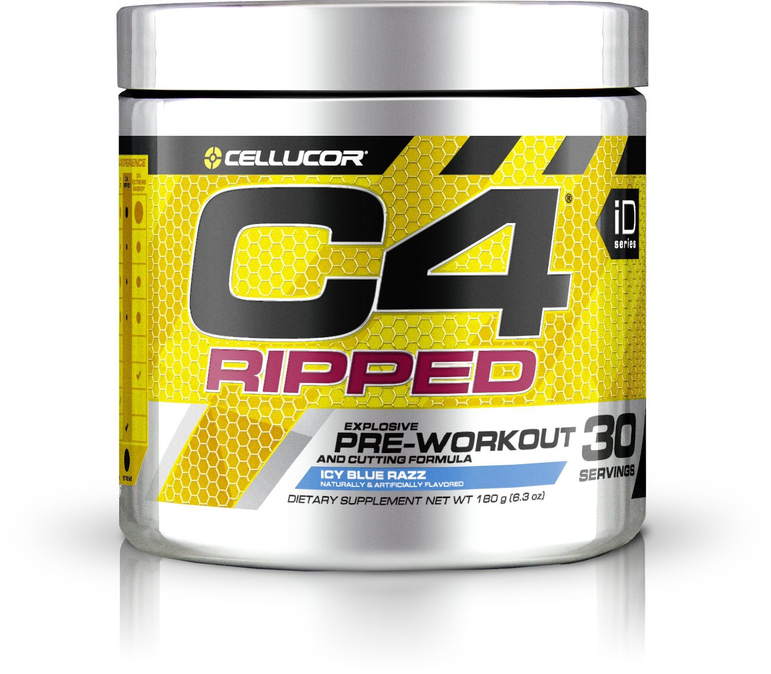 Cellucor C4 Ripped Pre Workout Powder + Thermogenic Fat Burner, Fat Burners for Men & Women, Weight Loss & Energy, Icy Blue Razz, 30 Servings