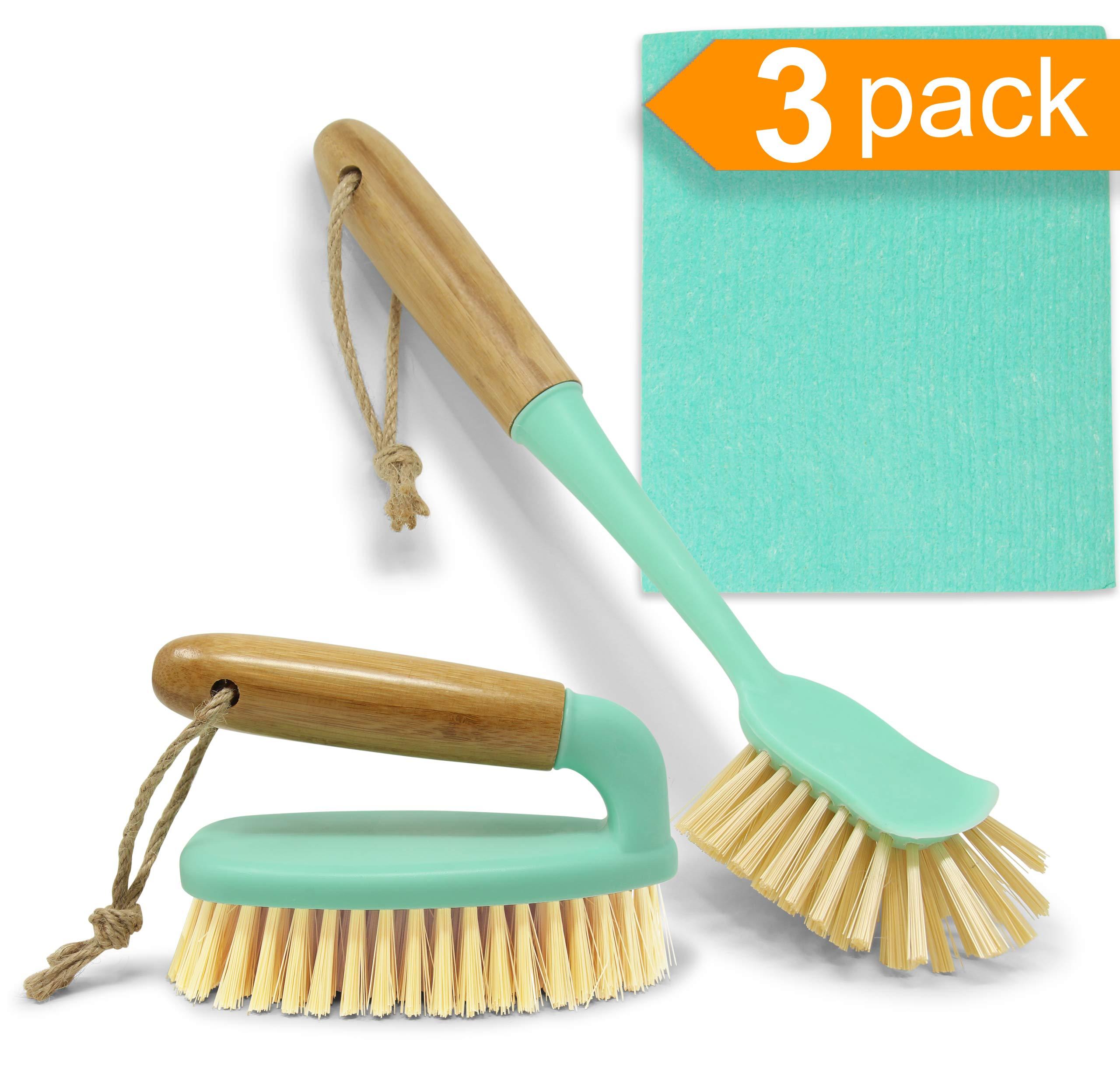 Bamboo Handle Scrub Brush Set