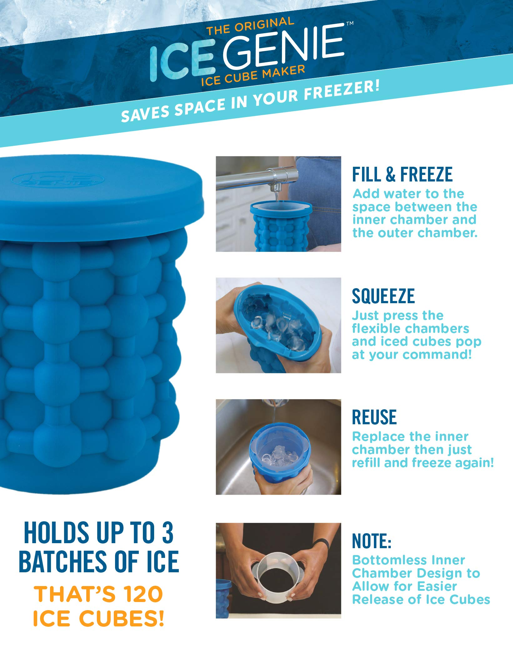The original ICE GENIE Ice Cube Maker! Space Saving Ice Cube Maker, Holds up to 120 Ice Cubes (Ice Genie, Ice Tongs)