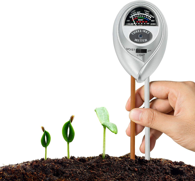 XLUX Kit de Prueba de Suelo 3 en 1 para Humedad, luz y pH, para el hogar y jardín, césped, Granja, Plantas, Hierbas y Herramientas de jardinería, Interior/Exterior comprobador de Cuidado de Plantas