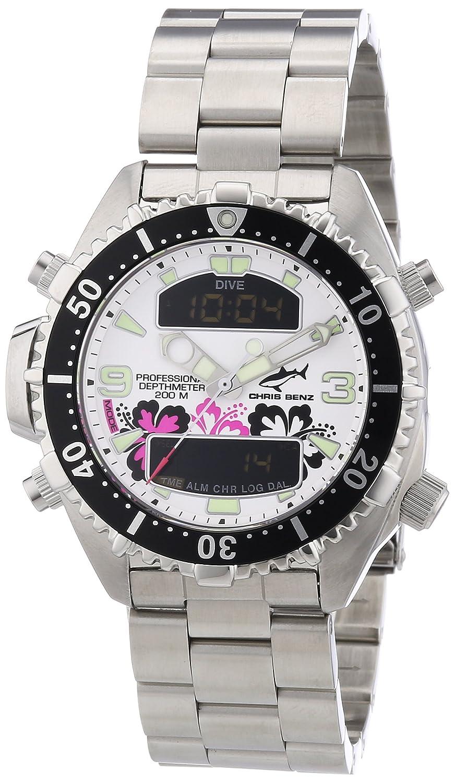 Chris Benz CB-D-Aloha-MB - Reloj analógico - Digital de Cuarzo Unisex, Correa de Acero Inoxidable Color Plateado: Amazon.es: Relojes