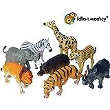 Lello & Monkey Safari wild animal toy plastic figures - large set of 8 unboxed