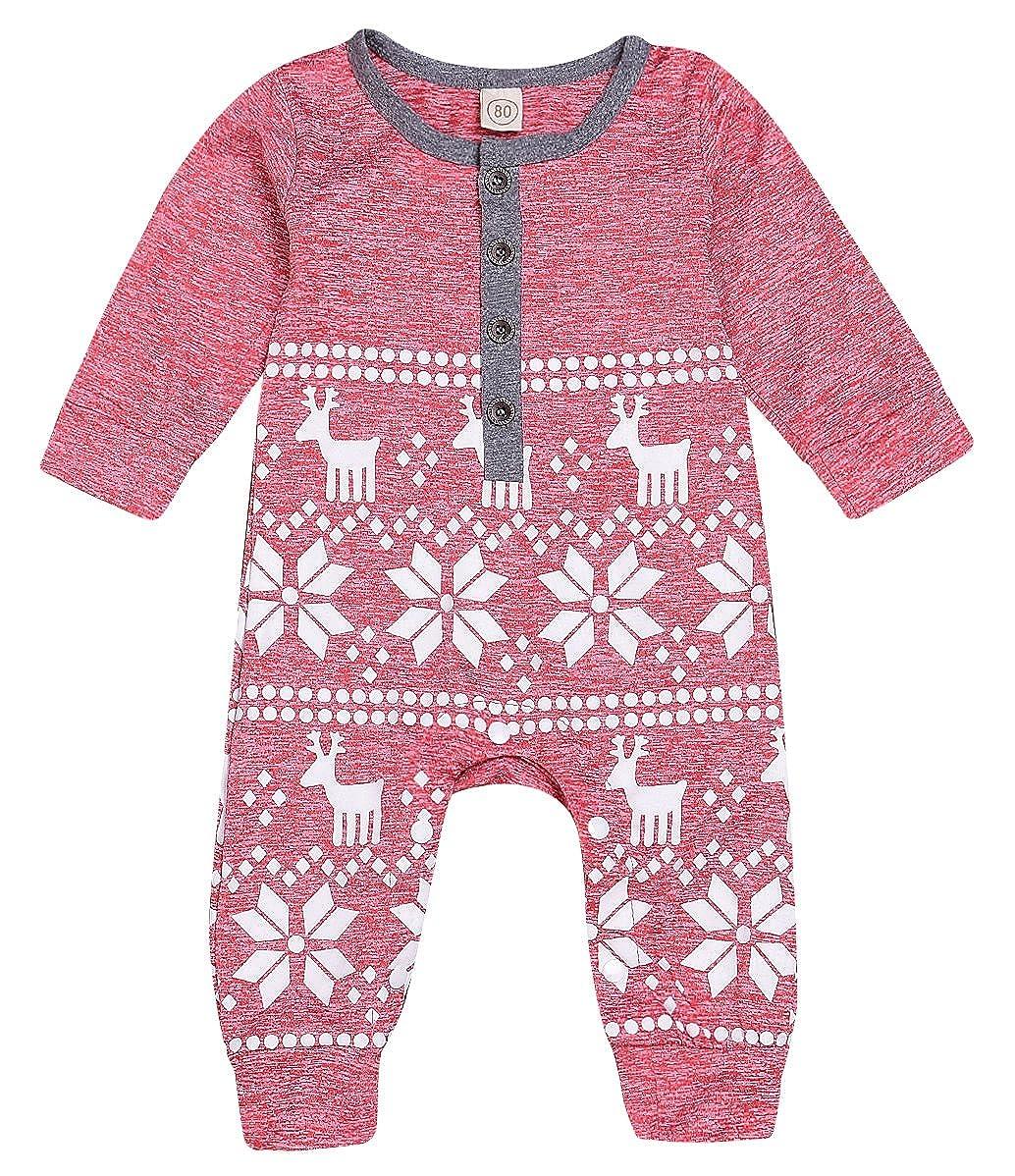Mini honey Baby Girl Boy Christmas Romper Long Sleeve Bodysuit Snowflake Deer Pajamas Outfit