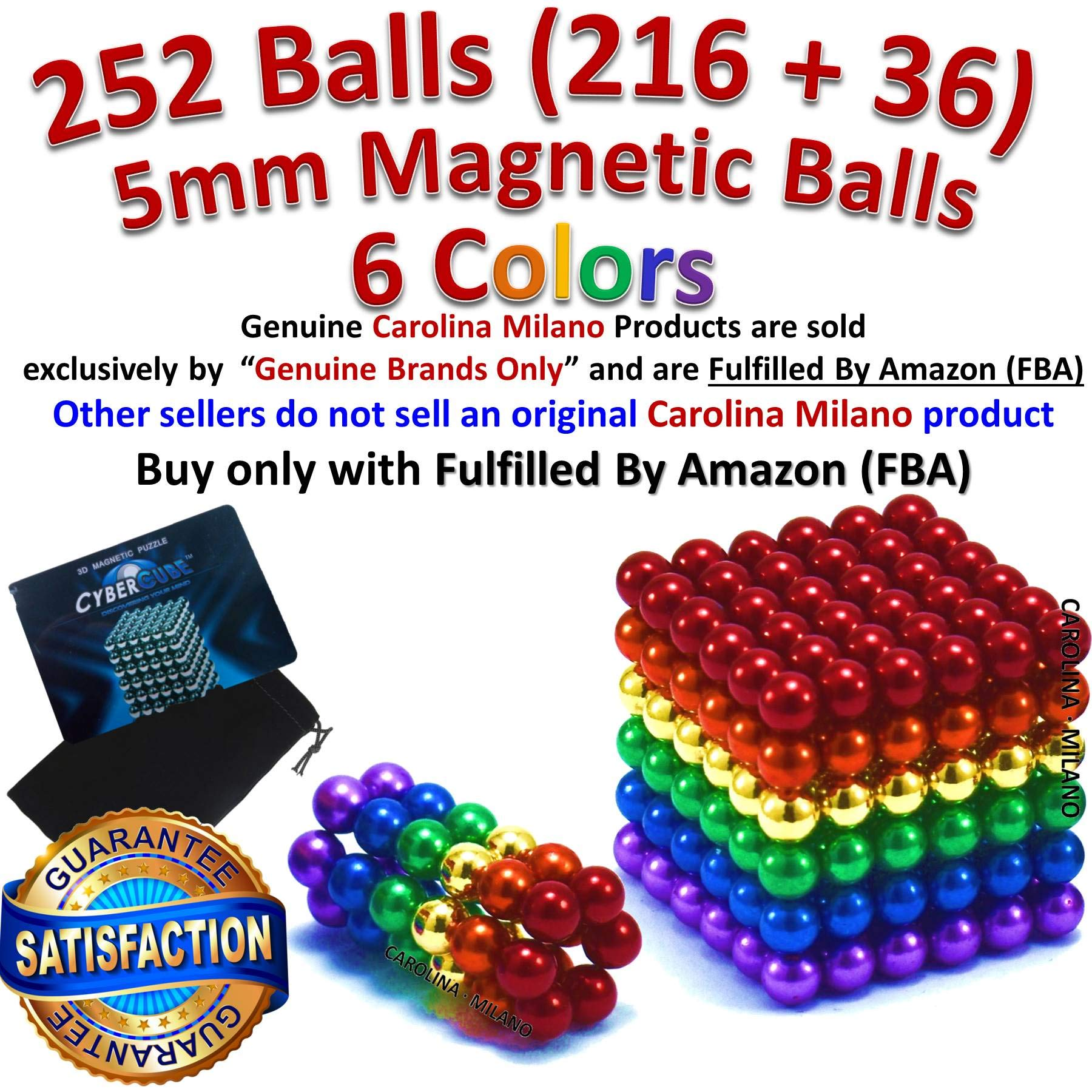 6 Rainbow Colors 252 pieces 216pcs + 36pcs 5mm Magnetic Balls Building Blocks Sculpture Magnets Educational game Magnet Toy Intelligence Development Stress Relief Imagination gift Magnetic Balls 5mm by CAROLINA MILANO