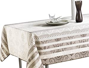My Jolie Home Ivory White Brown Baroque Rectangular Stain Resistant Tablecloth, 60 x 95-Inch - Ivory & Brown