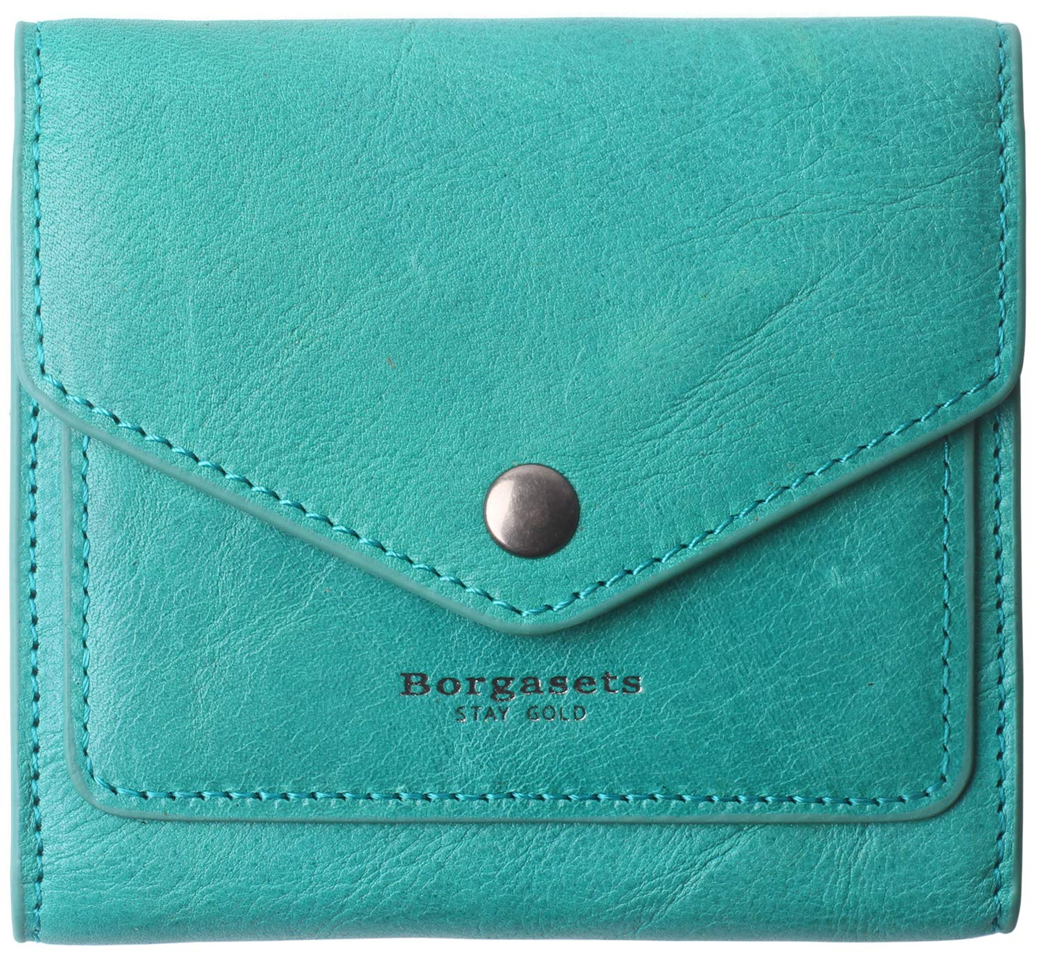 Small Leather Wallet for Women, RFID Blocking Women's Credit Card Holder Mini Bifold Pocket Purse (peacock green) by Borgasets