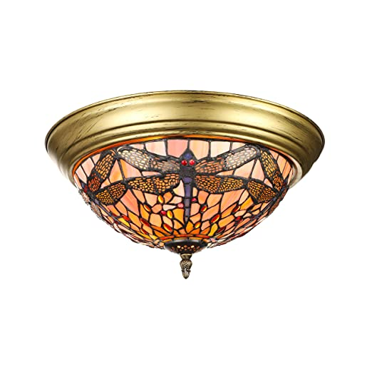 buy popular 8740c 2f4fe KWOKING Lighting Dragonfly Pattern Tiffany Style Flush Mount Ceiling Light  with Colorful Glass Shade Decorative Hanging Tiffany Lamps for Livingroom,  ...