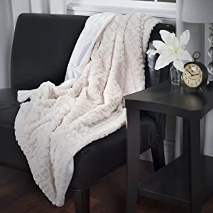 Lavish Home Plush Striped Embossed Faux Fur Mink Throw Blanket, Beige