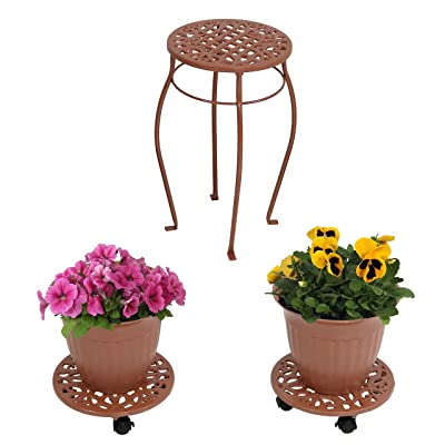 Sunnydaze 5-Piece Cast Iron Planter, Rolling Caddy and Plant Stand Set, Indoor or Outdoor, Bronze: Sunnydaze Decor: Garden & Outdoor