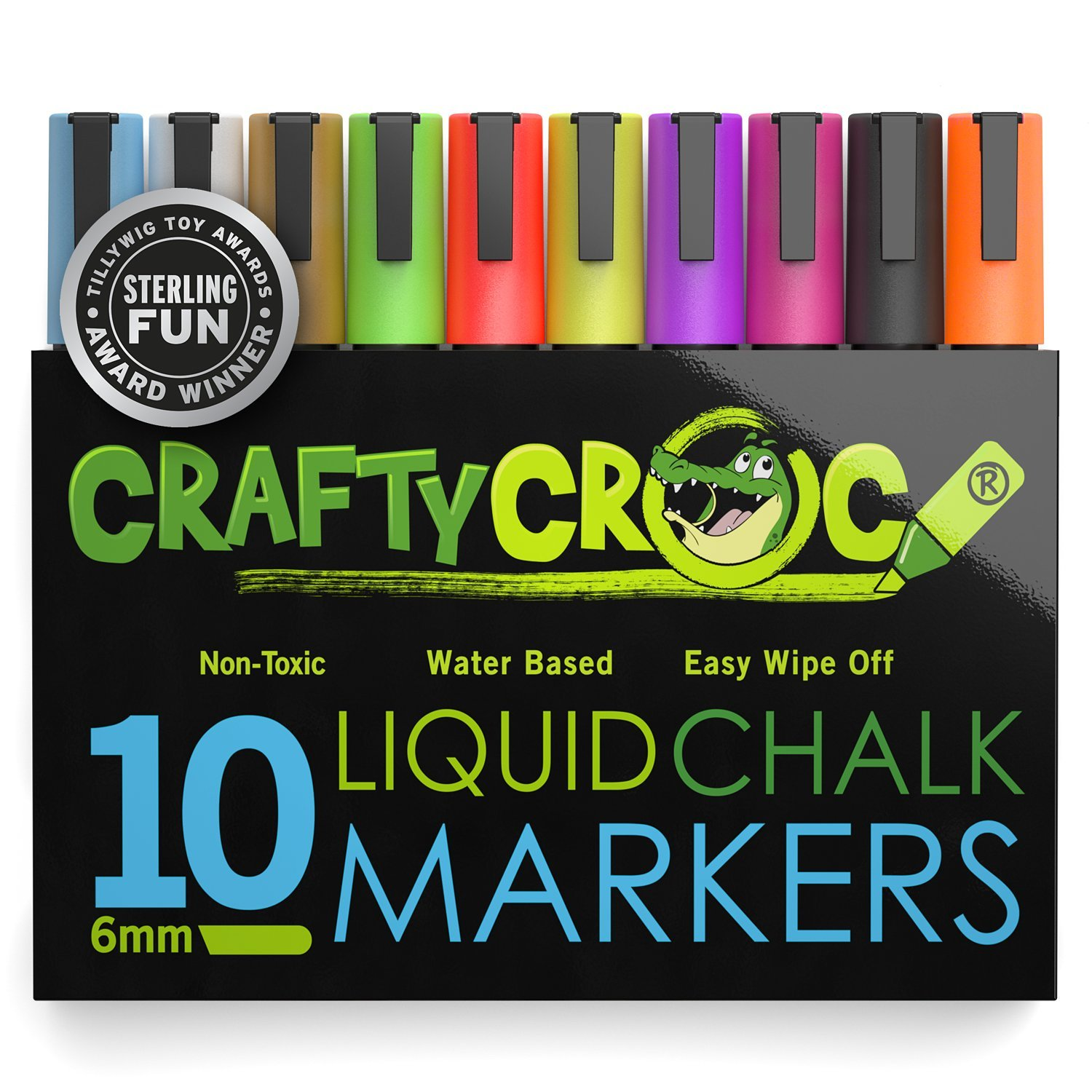 Crafty Croc Liquid Chalk Markers, 10 Pack of Neon Chalk Pens, For Nonporous Chalkboards, Bistro Boards, Glass and Windows by Crafty Croc