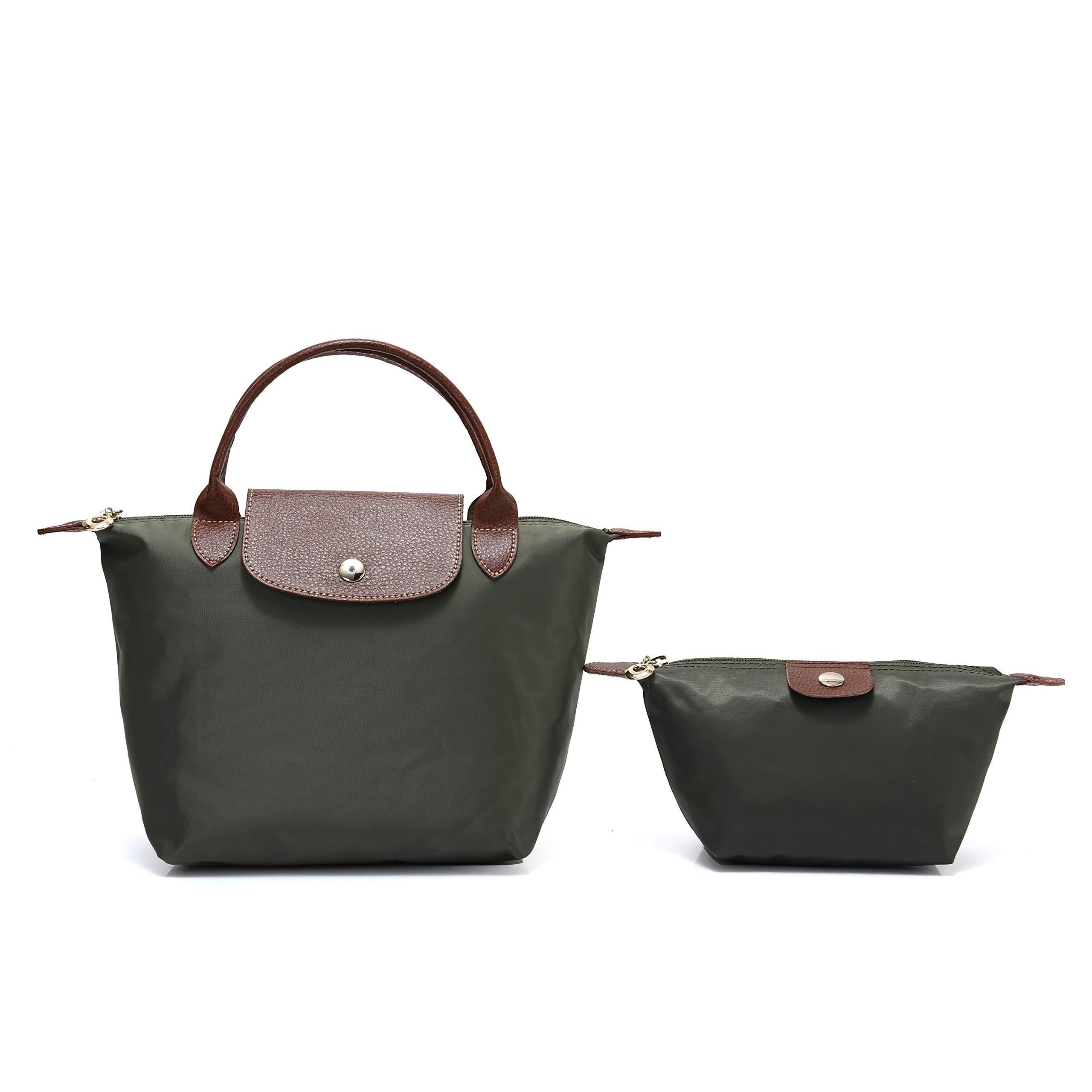 2 pcs Women's Stylish Waterproof Tote Bag Nylon Travel Shoulder Handbag (Army green;Mini number)