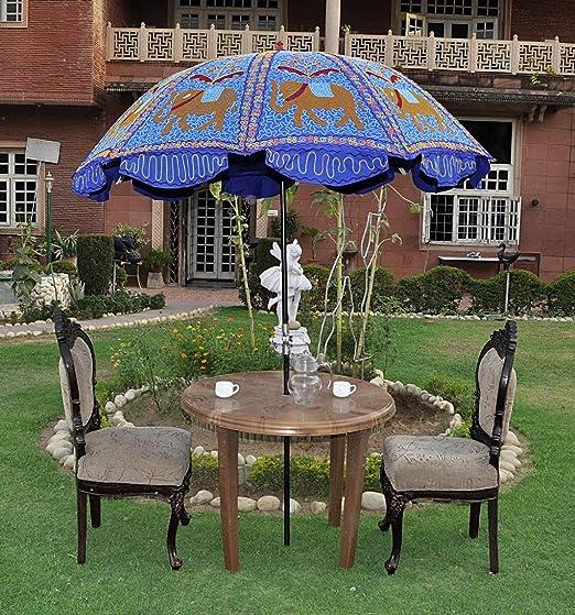 Decorativo Bordado al Aire Libre Patio Jardín Paraguas sombrilla Grande 133 x 183 cm: Amazon.es: Jardín