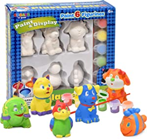 Number 1 in Gadgets Paint Your Own Pet Figurines, Decorate Your Own Painting Set, Includes 6 Pet Figurines, 6 Pots of Paint, Complete Plaster Craft Kit for Kids