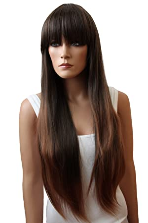Amazon.com: PRETTYSHOP Unisex Full Wig Long Hair 90cm Straight Heat-Resistant Brown mix # 2T30 FZ502f: Beauty