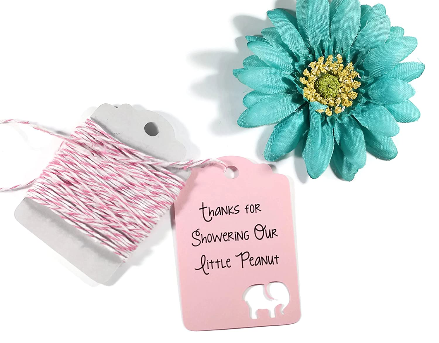 Amazon.com: Light Pink Elephant Baby Shower Tags - Baby Pink Thank ...
