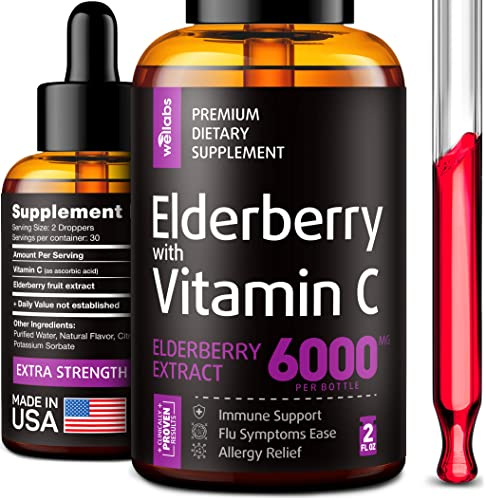 Elderberry Syrup – Organic Elderberries Extract 6000mg – Immune Support Sambucus Elderberry Syrup – Formulated in USA – Black Elderberry with Vitamin C – Sambucus Elderberry Syrup for Kids Adults